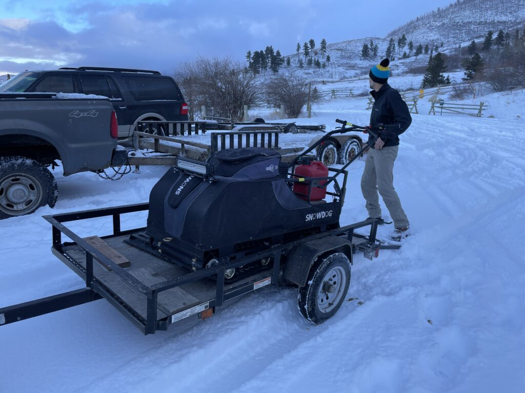 Olaf Snowdog groomer mounted on our new trailer